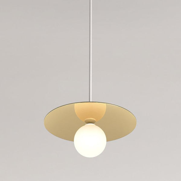 Disc and Sphere Pendant White