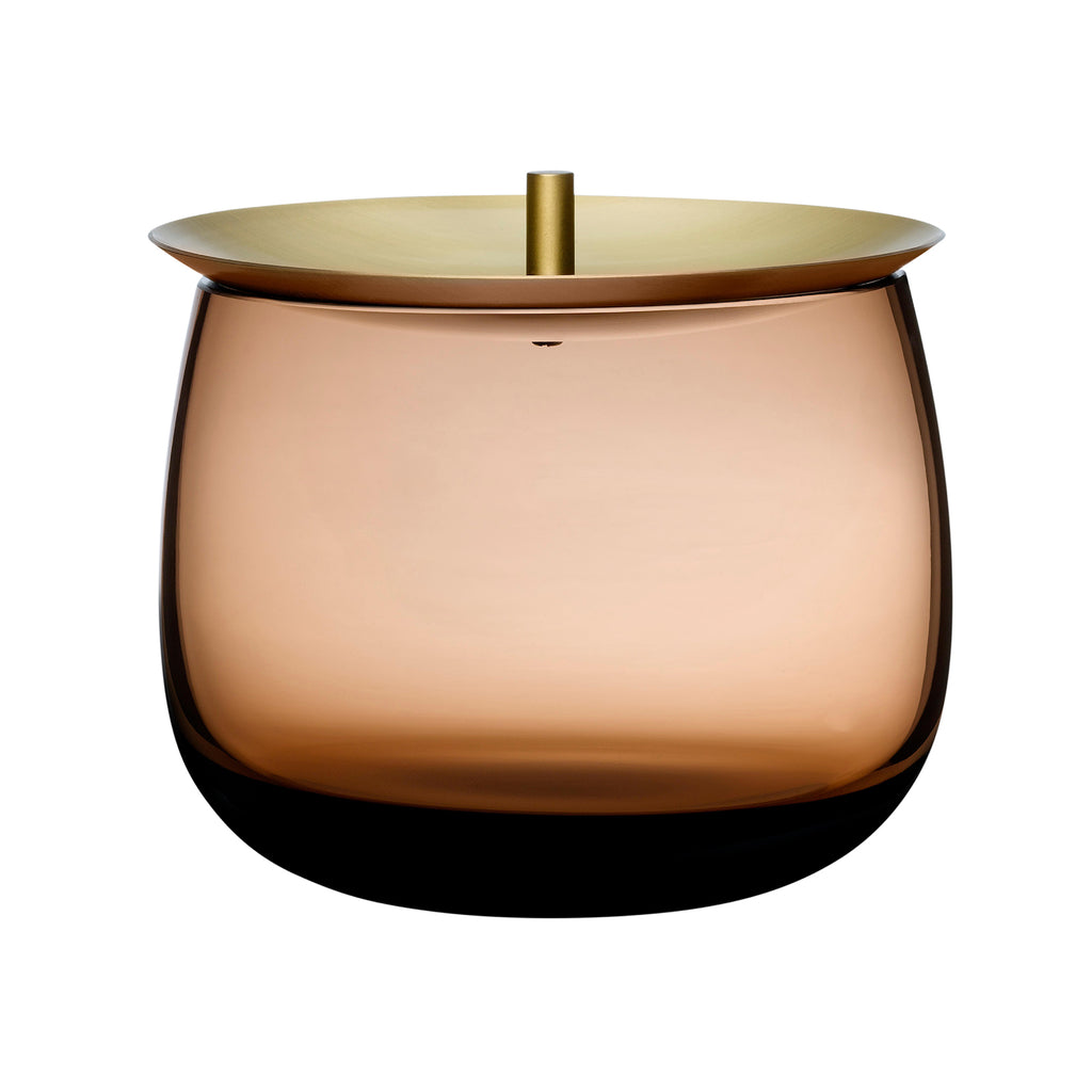 Beret Storage Box Small with Brass Lid - Caramel
