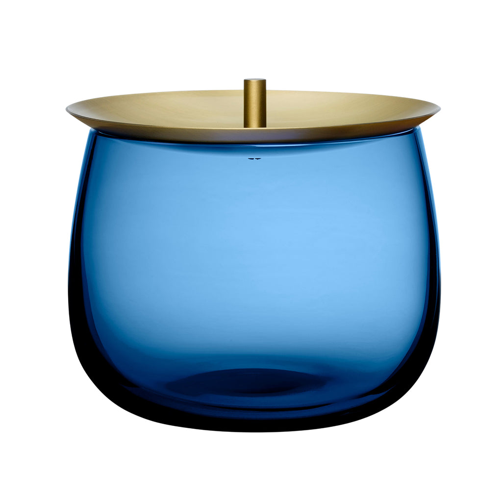 Beret Storage Box Small with Brass Lid - Cobalt Blue