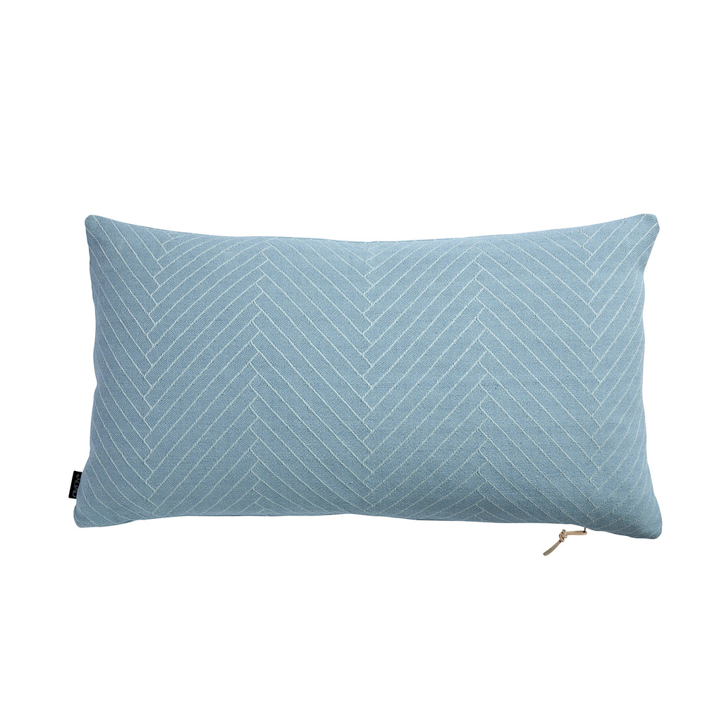Fluffy Herringbone Cushion - Aqua