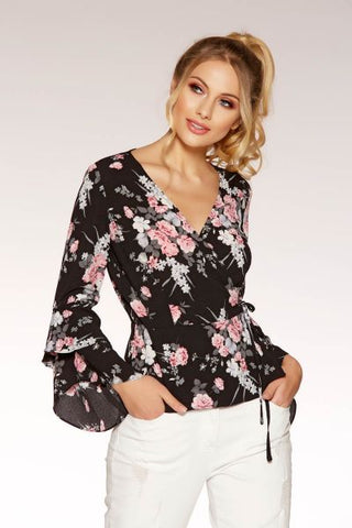 Black And Pink Frill Sleeve Top