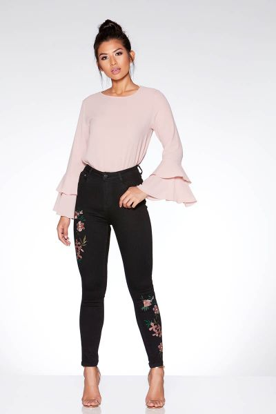 Black Floral Embroidered Skinny Jeans
