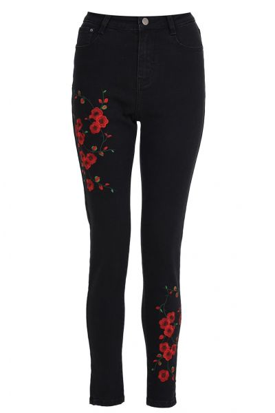 Black Flower Embroidered Skinny Jeans