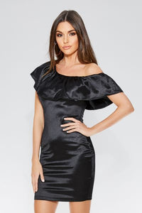 Black Satin Frill Bodycon Dress