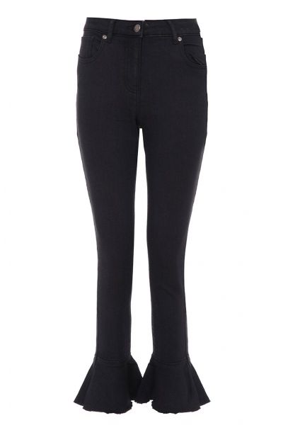 Black Stretch Frill Detail Jeans