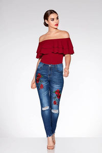 Blue Rose Embroidered Ripped Skinny Jeans