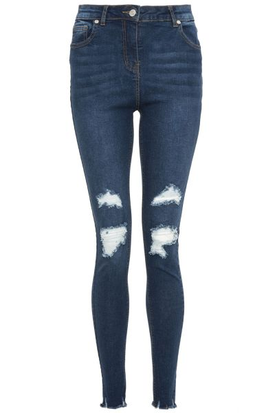 Blue Stretch Rip Detail Jeans