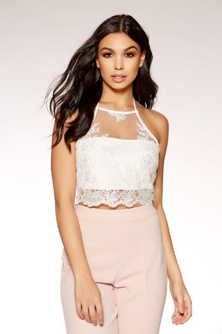 Cream Lace Halterneck Crop Top