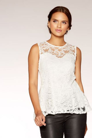 Cream Lace Sweetheart Neck Peplum Top