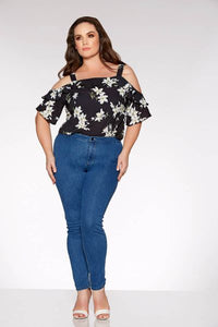 Curve Blue Stretch High Waist Jeans