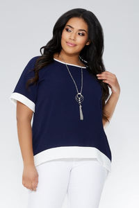 Curve Navy And Cream Necklace Top