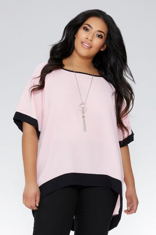Curve Pink And Black Necklace Top