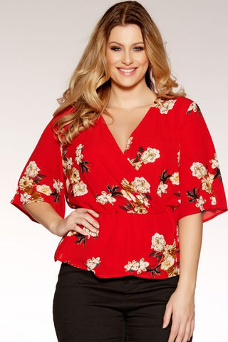 Curve Red Crepe Floral Crossover Top