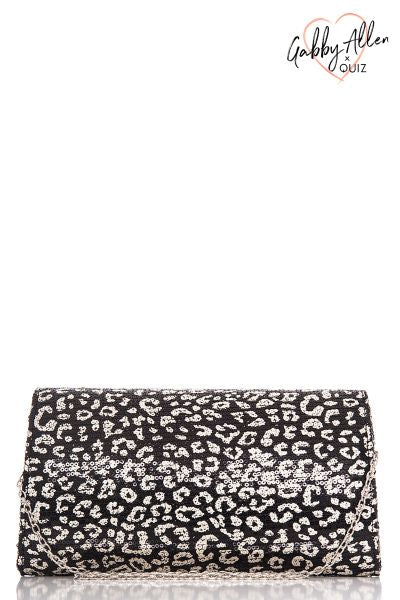 Gabby's Black And Gold Leopard Print Sequin Bag