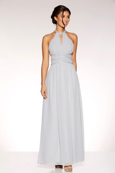 Grey Chiffon Embellished Keyhole Maxi Dress