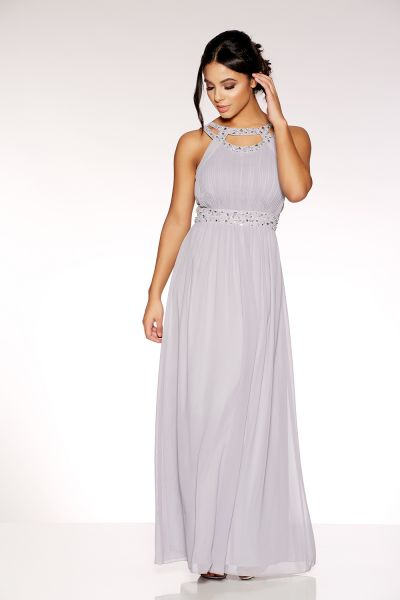 Grey Chiffon Embellished Maxi Dress