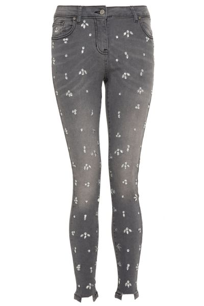 Grey Diamante Detail Skinny Jeans