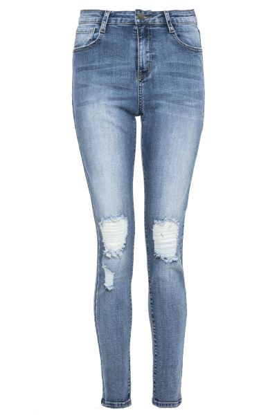 Light Blue Denim Stretch Rip Jeans
