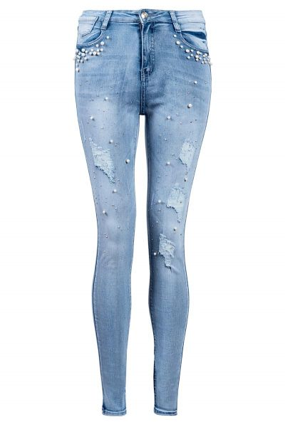 Light Blue Pearl And Diamante Jeans