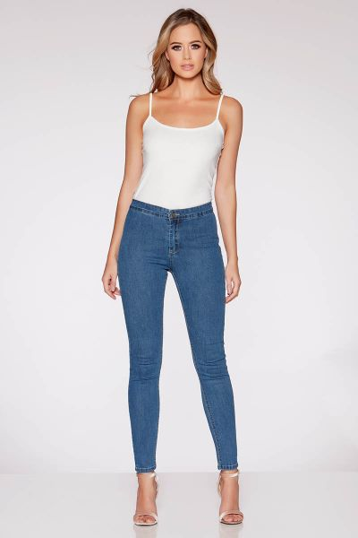 Mid Blue High Waist Skinny Jeans