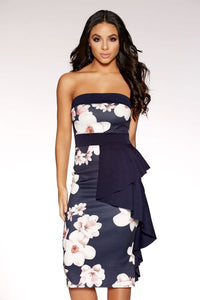 Navy And Cream Floral Ruffle Dress