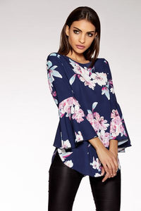 Navy And Pink Bubble Crepe Floral Top