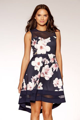 Navy And Pink Floral Dip Hem Dress