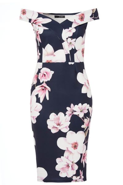 Navy And Pink Floral Print Sweetheart Neckline Dress