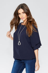 Navy Crepe Double Sleeve Necklace Top