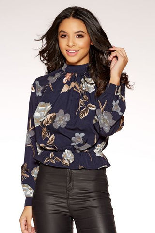 Navy Floral Print High Neck Top