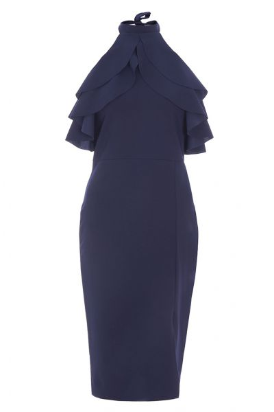 Navy Frill Halterneck Midi Dress