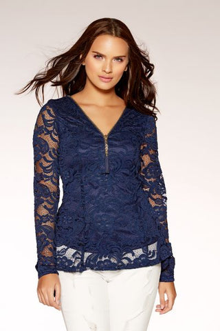 Navy Lace Zip Front Tassle Detail Top