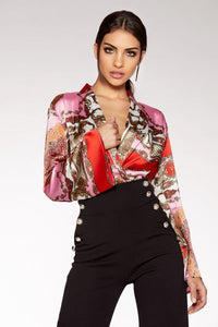 Pink And Red Satin Scarf Print Flute Sleeve Bodysuit