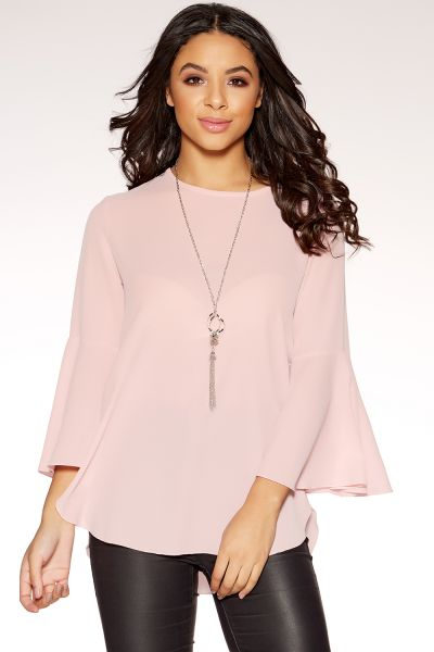 Pink Crepe Ruffle Sleeve Necklace Top