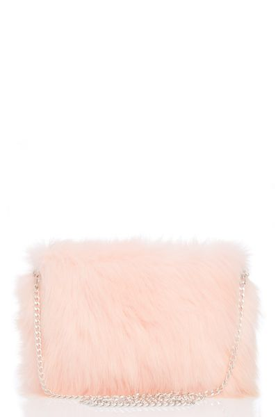 Pink Faux Fur Square Bag