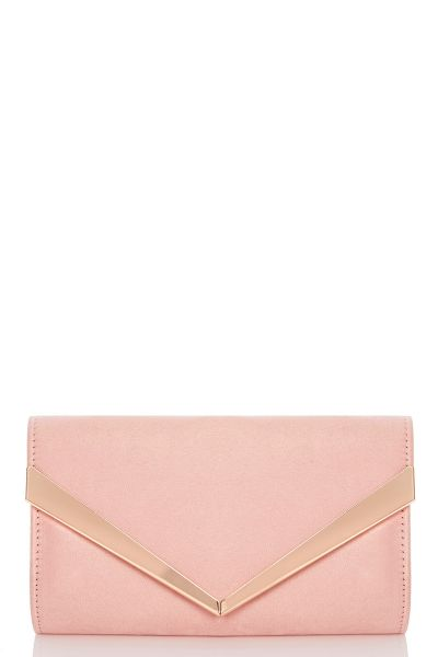 Pink Faux Suede Clutch Bag