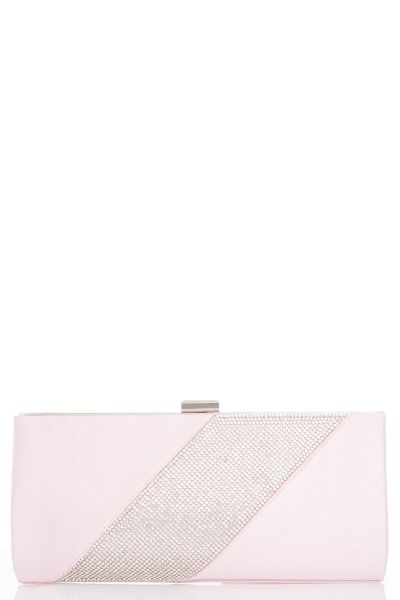 Pink Textured Diamante Clip Bag