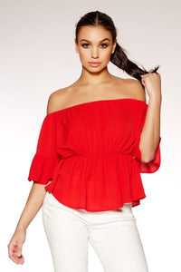 Red Bardot Flute Sleeve Top