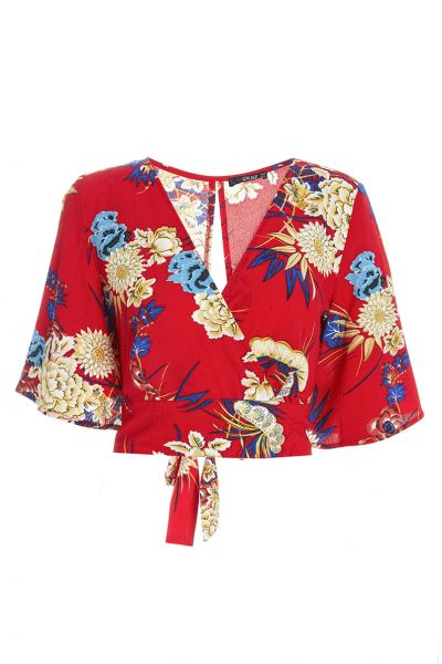 Red Floral Print Flute Sleeve Top