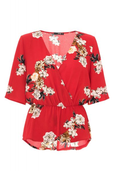 Red Floral Wide Sleeve Peplum Top