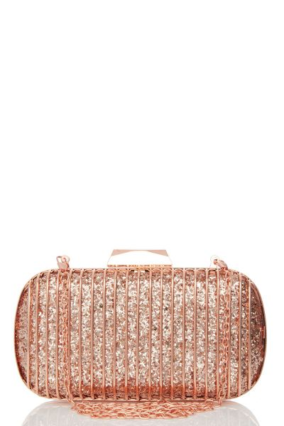 Rose Gold Glitter Cage Box Bag