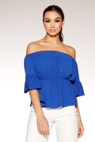 Royal Blue Bardot Flute Sleeve Top