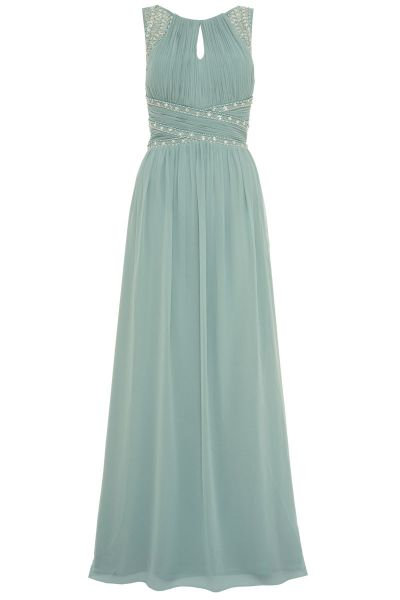 Sage Green Chiffon High Neck Embellished Maxi Dress