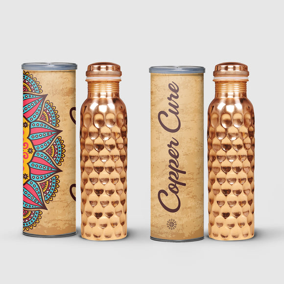Set of 2 Copper bottles 1ltr each- Contemporary design