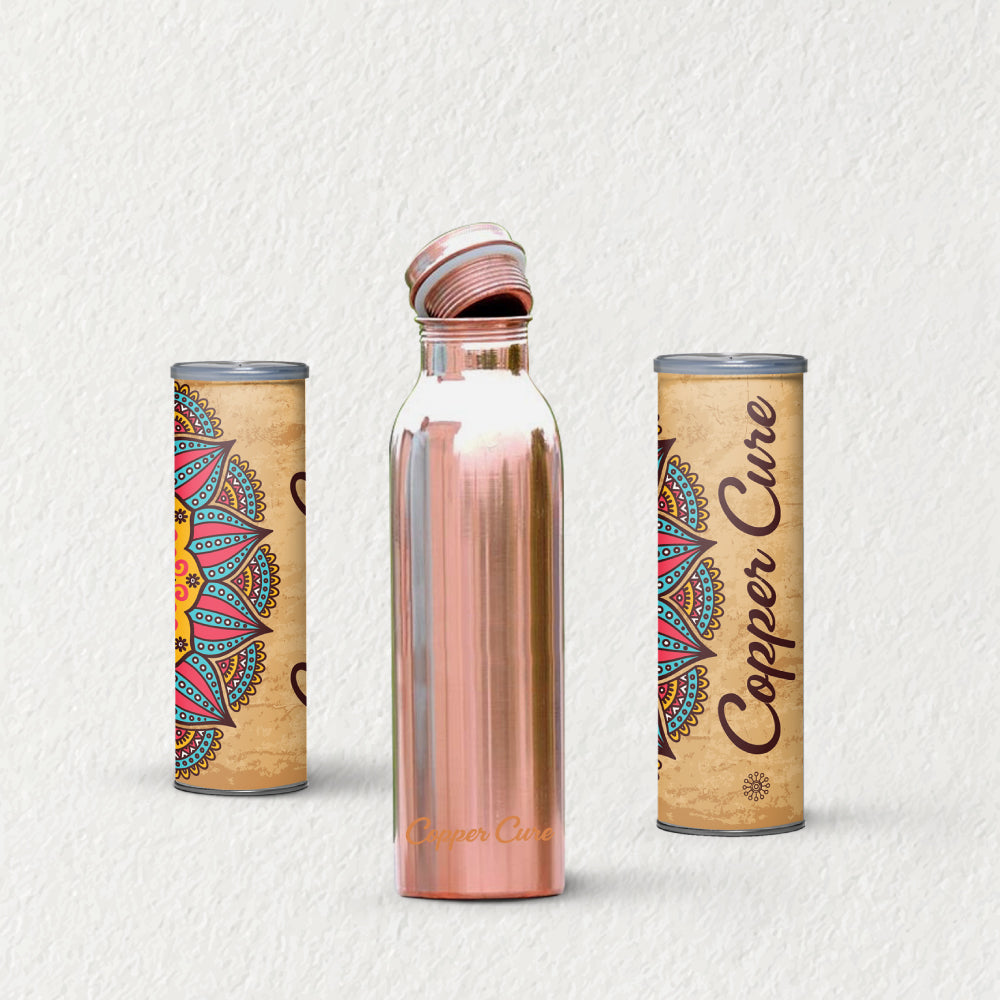 Hand Made Plain 1000 ml Copper Water Bottle