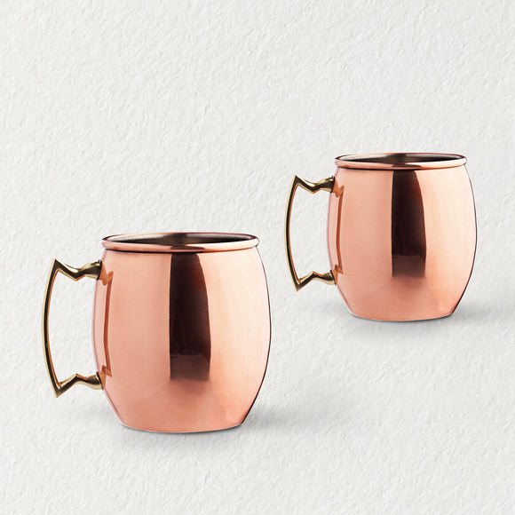 Copper Big Glass with Handle 500 ml(Set of 2)