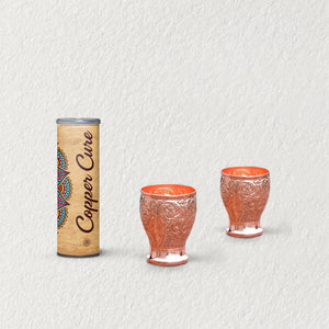 Handmade Pure copper Embossed water glass 350ml (Set of 2)