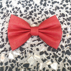 Glitter Christmas Bow Tie - Red
