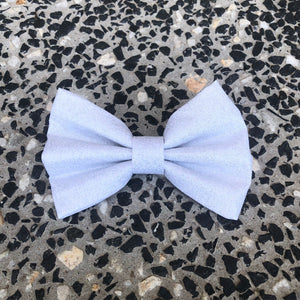 Glitter Christmas Bow Tie - White