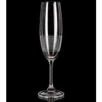 Leona Etched 21cl / 7oz Flutes Rings Glasses - Box of 6